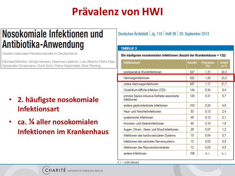 3 Prävalenz von HWI 2. häufigste nosokomiale Infektionsart ca. ¼ aller nosokomialen Infektionen im Krankenhaus
