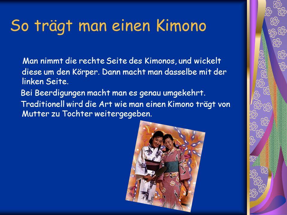 So trägt man einen Kimono Man nimmt die rechte Seite des Kimonos, und wickelt diese um den Körper.