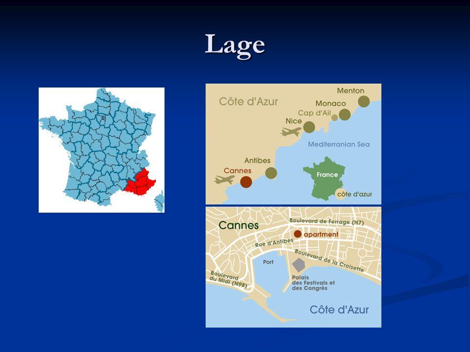 Die Ausdehnung der Côte d'Azur erstreckt sich von Chassis (Bouches-du-Rhône) bis Mentor an der italienischen Grenze.