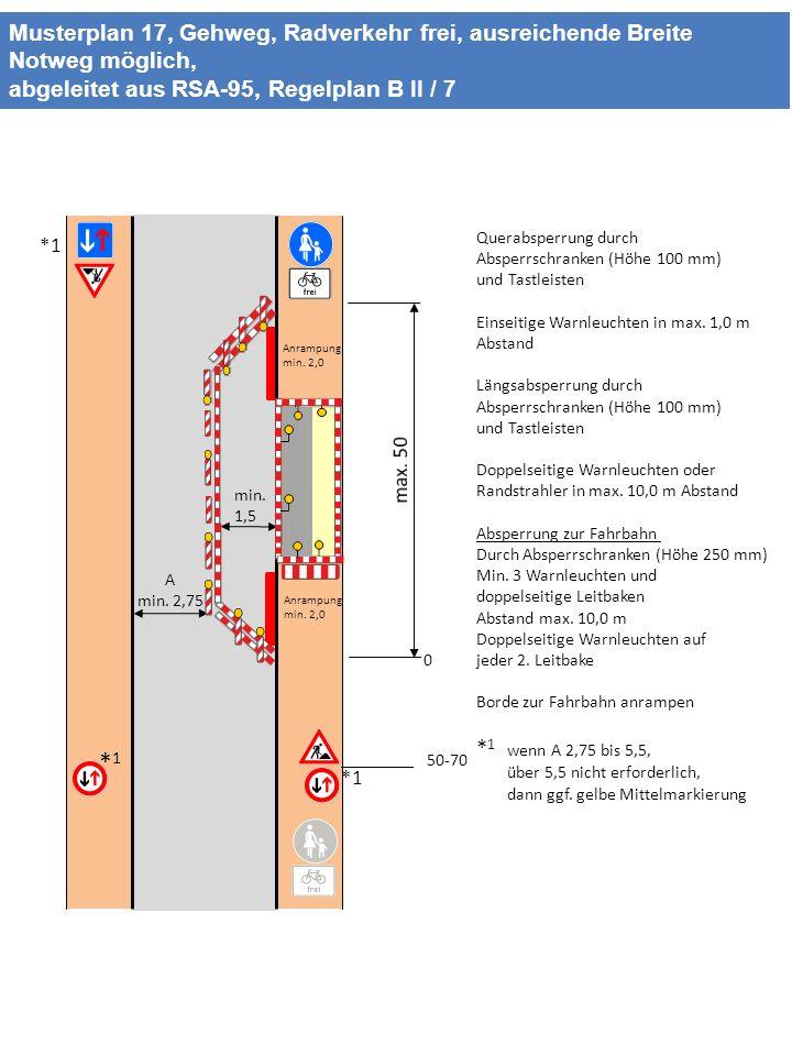 Musterplan 17, Gehweg, Radverkehr frei, ausreichende Breite Notweg möglich, abgeleitet aus RSA-95, Regelplan B II / 7 min. 1,5 A min. 2,75 50-70 *1*1