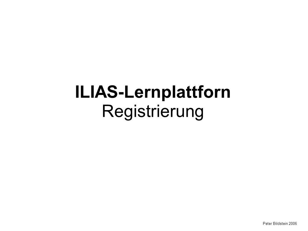 Peter Bildstein 2006 ILIAS-Lernplattforn Registrierung