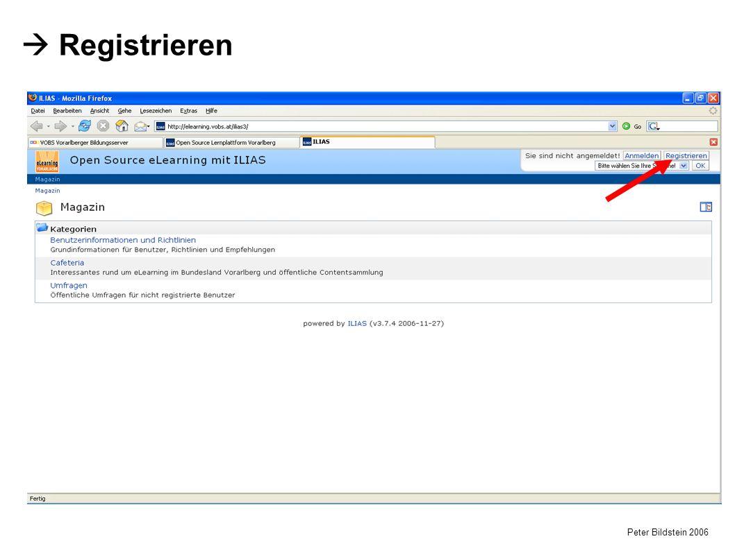 Peter Bildstein 2006  Registrieren