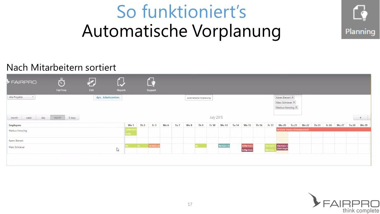 So funktioniert's Automatische Vorplanung Nach Projekten sortiert 18