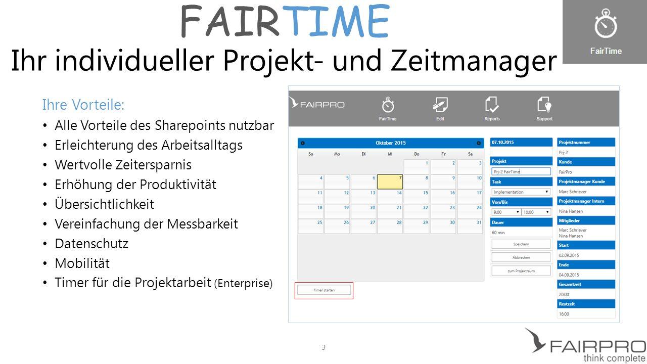 FAIRTIME Projekte und Zeiten in Sekunden erfassen 4