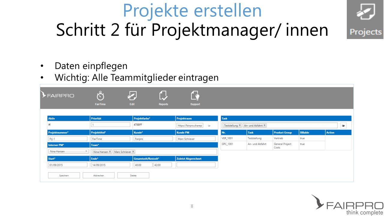 Bestimmung der Produktgruppe Projekte erstellen Produktgruppen/ Aufgaben 9