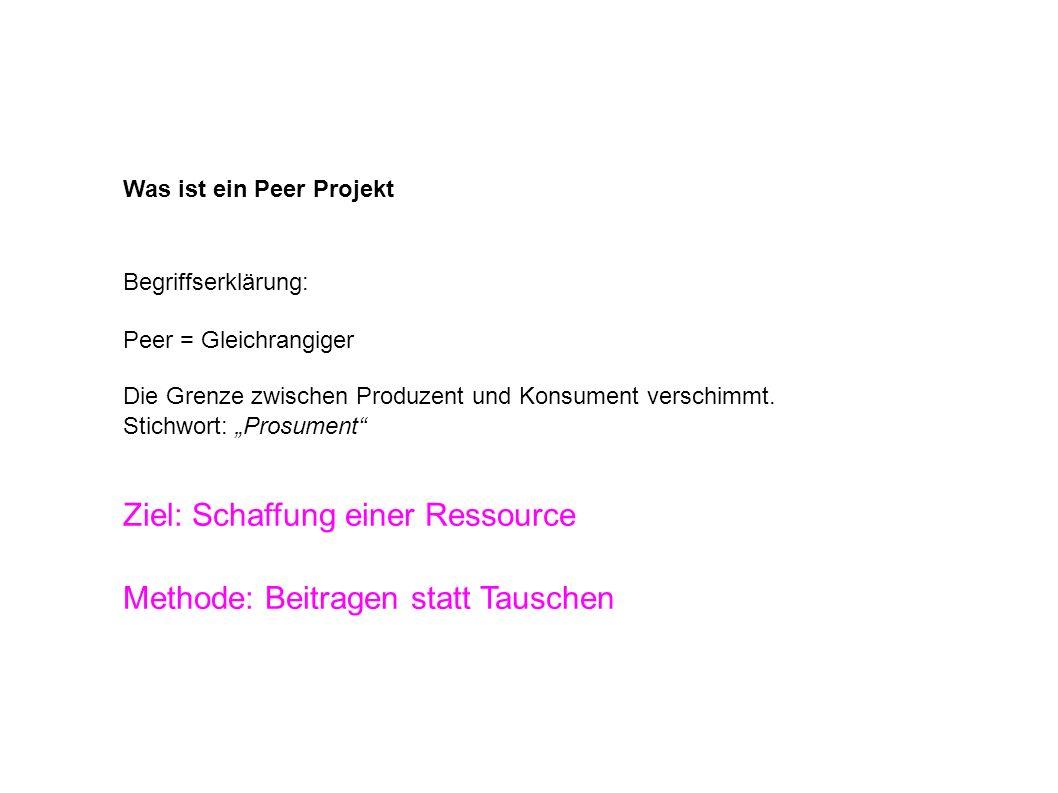 Was ist ein Peer Projekt Begriffserklärung: Peer = Gleichrangiger Die Grenze zwischen Produzent und Konsument verschimmt.