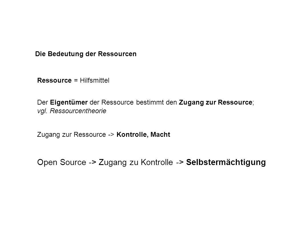 Die Bedeutung der Ressourcen Der Eigentümer der Ressource bestimmt den Zugang zur Ressource; vgl.