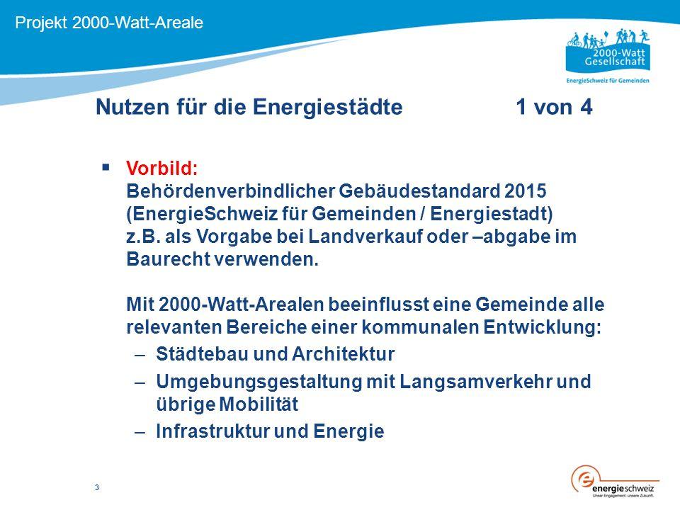 Nutzen für die Energiestädte 1 von 4 Projekt 2000-Watt-Areale  Vorbild: Behördenverbindlicher Gebäudestandard 2015 (EnergieSchweiz für Gemeinden / Energiestadt) z.B.