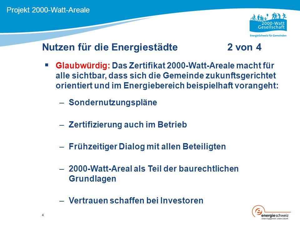 Nutzen für die Energiestädte 2 von 4 Projekt 2000-Watt-Areale  Glaubwürdig: Das Zertifikat 2000-Watt-Areale macht für alle sichtbar, dass sich die Gemeinde zukunftsgerichtet orientiert und im Energiebereich beispielhaft vorangeht: –Sondernutzungspläne –Zertifizierung auch im Betrieb –Frühzeitiger Dialog mit allen Beteiligten –2000-Watt-Areal als Teil der baurechtlichen Grundlagen –Vertrauen schaffen bei Investoren 4