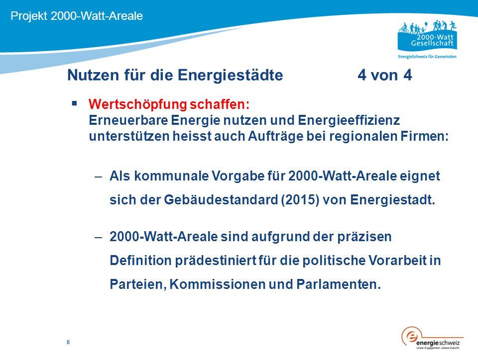 Nutzen für die Energiestädte 4 von 4 Projekt 2000-Watt-Areale  Wertschöpfung schaffen: Erneuerbare Energie nutzen und Energieeffizienz unterstützen heisst auch Aufträge bei regionalen Firmen: –Als kommunale Vorgabe für 2000-Watt-Areale eignet sich der Gebäudestandard (2015) von Energiestadt.