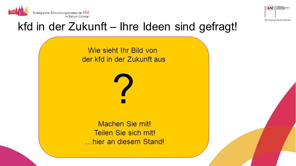 Strategischer Entwicklungsprozess der kfd im Bistum Münster kfd in der Zukunft – Ihre Ideen sind gefragt.