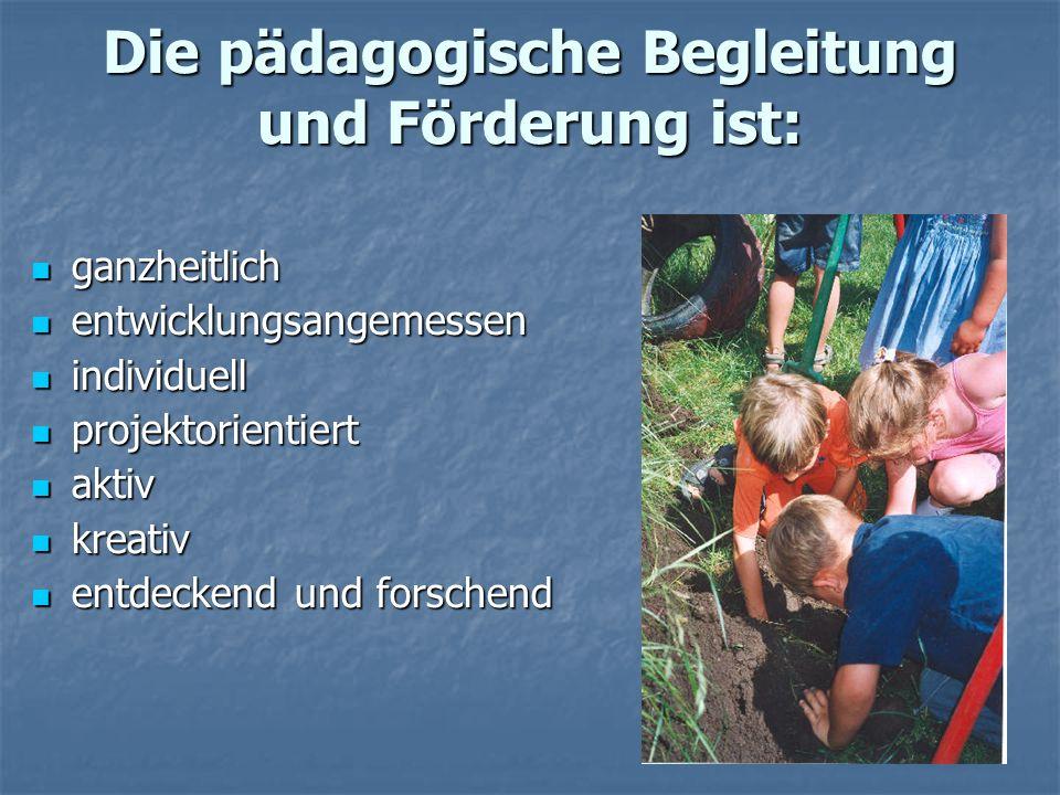 Die pädagogische Begleitung und Förderung ist: ganzheitlich ganzheitlich entwicklungsangemessen entwicklungsangemessen individuell individuell projekt