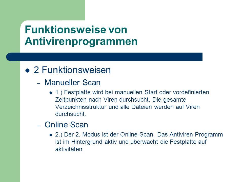 Funktionsweise von Antivirenprogrammen 2 Funktionsweisen – Manueller Scan 1.) Festplatte wird bei manuellen Start oder vordefinierten Zeitpunkten nach