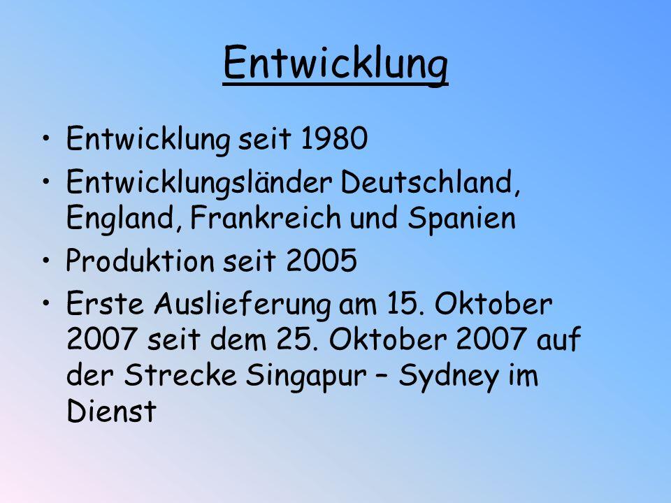 Entwicklung Entwicklung seit 1980 Entwicklungsländer Deutschland, England, Frankreich und Spanien Produktion seit 2005 Erste Auslieferung am 15. Oktob