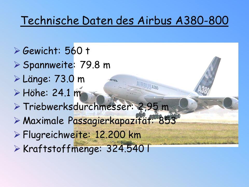  Gewicht: 560 t  Spannweite: 79.8 m  Länge: 73.0 m  Höhe: 24.1 m  Triebwerksdurchmesser: 2,95 m  Maximale Passagierkapazität: 853  Flugreichwei