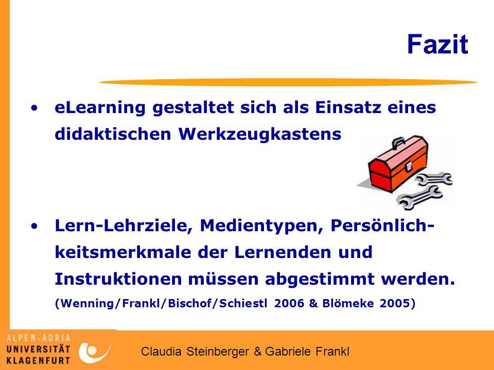 Claudia Steinberger & Gabriele Frankl Fazit eLearning gestaltet sich als Einsatz eines didaktischen Werkzeugkastens Lern-Lehrziele, Medientypen, Persönlich- keitsmerkmale der Lernenden und Instruktionen müssen abgestimmt werden.