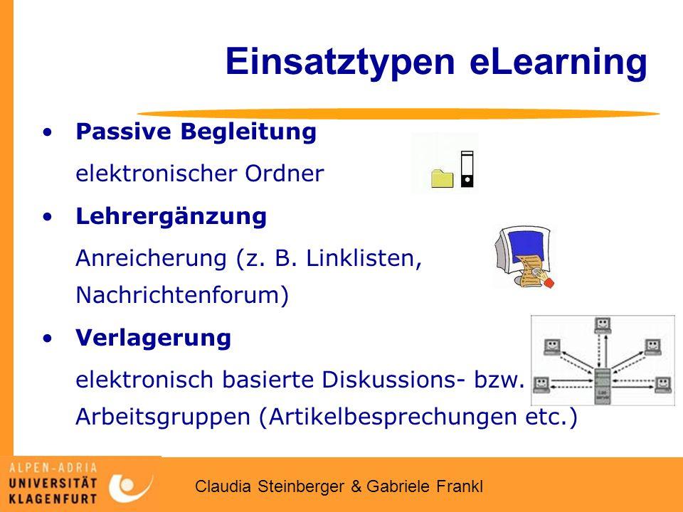Claudia Steinberger & Gabriele Frankl Einsatztypen eLearning Passive Begleitung elektronischer Ordner Lehrergänzung Anreicherung (z.