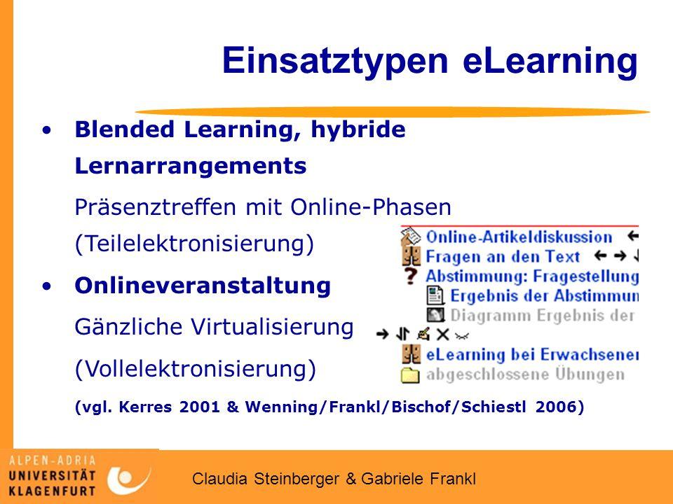 Claudia Steinberger & Gabriele Frankl Einsatztypen eLearning Blended Learning, hybride Lernarrangements Präsenztreffen mit Online-Phasen (Teilelektronisierung) Onlineveranstaltung Gänzliche Virtualisierung (Vollelektronisierung) (vgl.