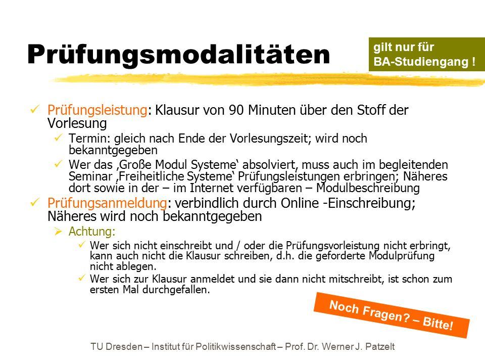TU Dresden – Institut für Politikwissenschaft – Prof. Dr. Werner J. Patzelt Prüfungsmodalitäten Prüfungsleistung: Klausur von 90 Minuten über den Stof