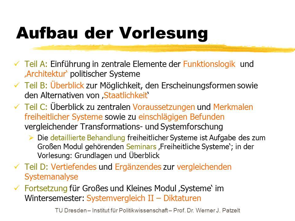 TU Dresden – Institut für Politikwissenschaft – Prof. Dr. Werner J. Patzelt Aufbau der Vorlesung Teil A: Einführung in zentrale Elemente der Funktions
