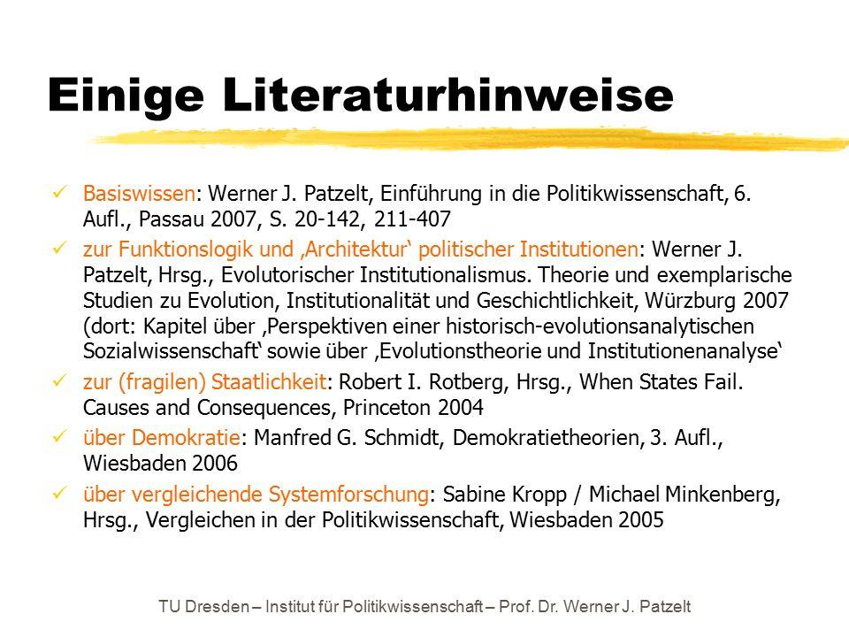 Einige Literaturhinweise Basiswissen: Werner J. Patzelt, Einführung in die Politikwissenschaft, 6. Aufl., Passau 2007, S. 20-142, 211-407 zur Funktion
