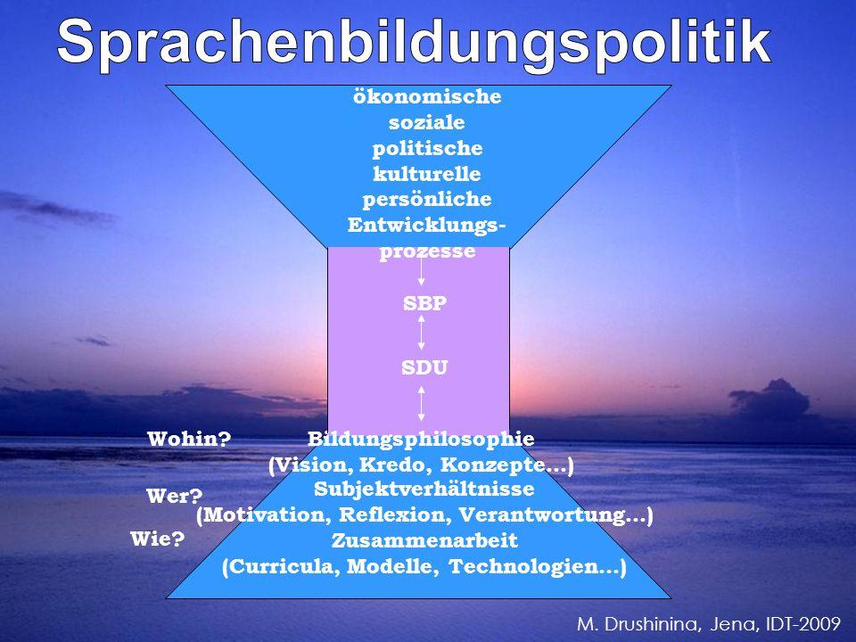 ökonomische soziale politische kulturelle persönliche Entwicklungs- prozesse SBP SDU Bildungsphilosophie (Vision, Kredo, Konzepte…) Subjektverhältnisse (Motivation, Reflexion, Verantwortung...) Zusammenarbeit (Curricula, Modelle, Technologien…) Wohin.