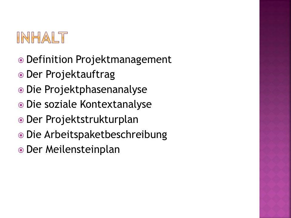  Definition Projektmanagement  Der Projektauftrag  Die Projektphasenanalyse  Die soziale Kontextanalyse  Der Projektstrukturplan  Die Arbeitspaketbeschreibung  Der Meilensteinplan
