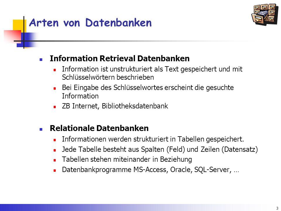 3 Arten von Datenbanken Information Retrieval Datenbanken Information ist unstrukturiert als Text gespeichert und mit Schlüsselwörtern beschrieben Bei
