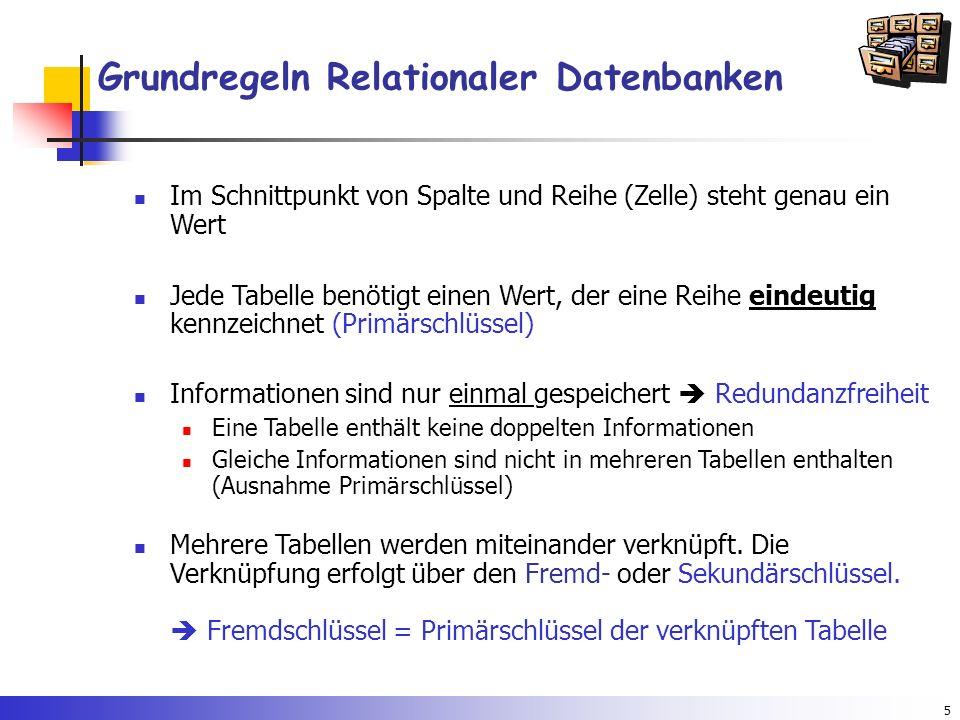 5 Grundregeln Relationaler Datenbanken Im Schnittpunkt von Spalte und Reihe (Zelle) steht genau ein Wert Jede Tabelle benötigt einen Wert, der eine Re