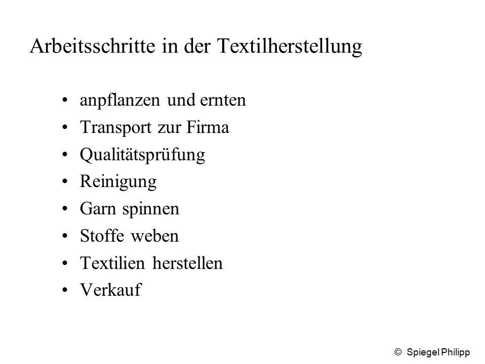 © Spiegel Philipp Arbeitsschritte in der Textilherstellung anpflanzen und ernten Transport zur Firma Qualitätsprüfung Reinigung Garn spinnen Stoffe we