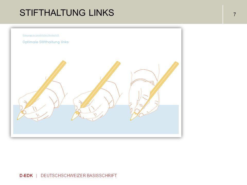 D-EDK | DEUTSCHSCHWEIZER BASISSCHRIFT 7 STIFTHALTUNG LINKS