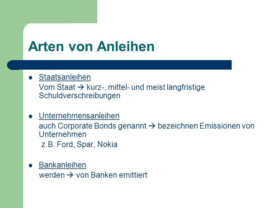 Arten von Anleihen Staatsanleihen Vom Staat  kurz-, mittel- und meist langfristige Schuldverschreibungen Unternehmensanleihen auch Corporate Bonds ge