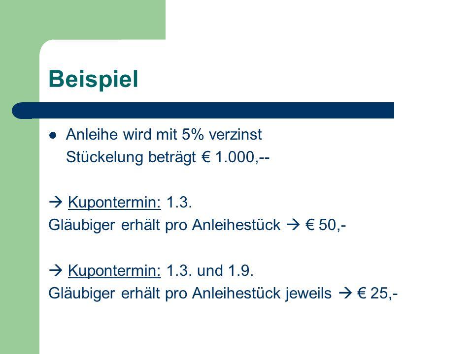 Beispiel Anleihe wird mit 5% verzinst Stückelung beträgt € 1.000,--  Kupontermin: 1.3. Gläubiger erhält pro Anleihestück  € 50,-  Kupontermin: 1.3.