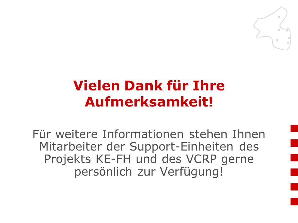 Vielen Dank für Ihre Aufmerksamkeit! Für weitere Informationen stehen Ihnen Mitarbeiter der Support-Einheiten des Projekts KE-FH und des VCRP gerne pe