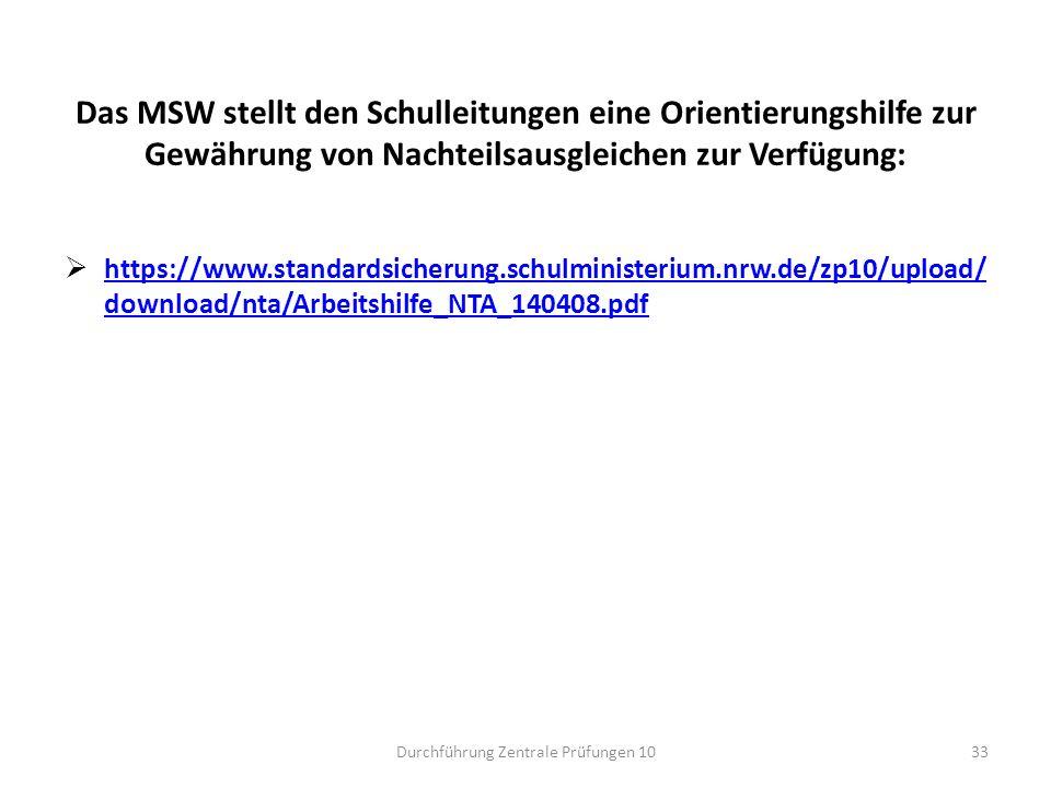 Das MSW stellt den Schulleitungen eine Orientierungshilfe zur Gewährung von Nachteilsausgleichen zur Verfügung:  https://www.standardsicherung.schulm
