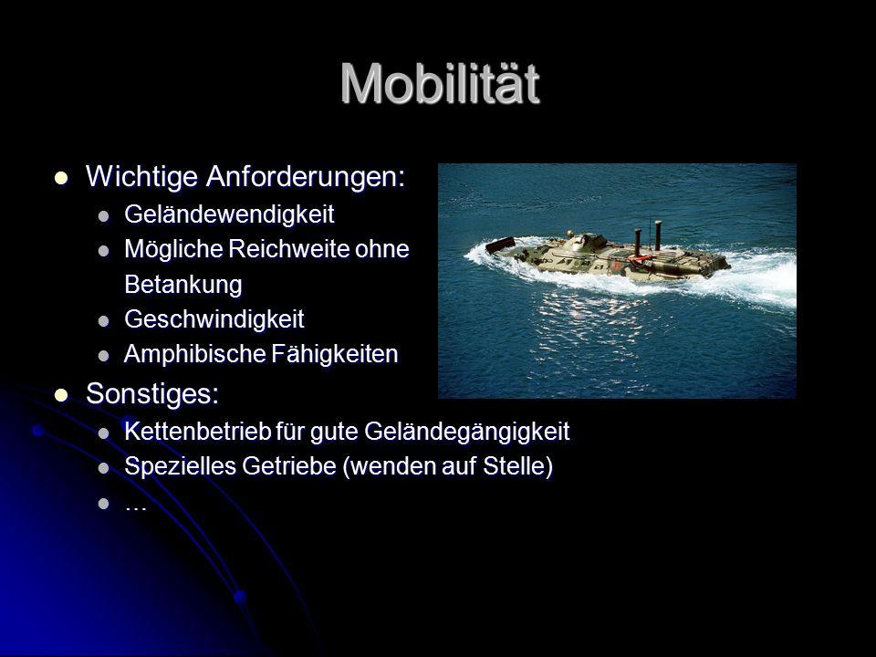 Mobilität Wichtige Anforderungen: Wichtige Anforderungen: Geländewendigkeit Geländewendigkeit Mögliche Reichweite ohne Mögliche Reichweite ohneBetanku