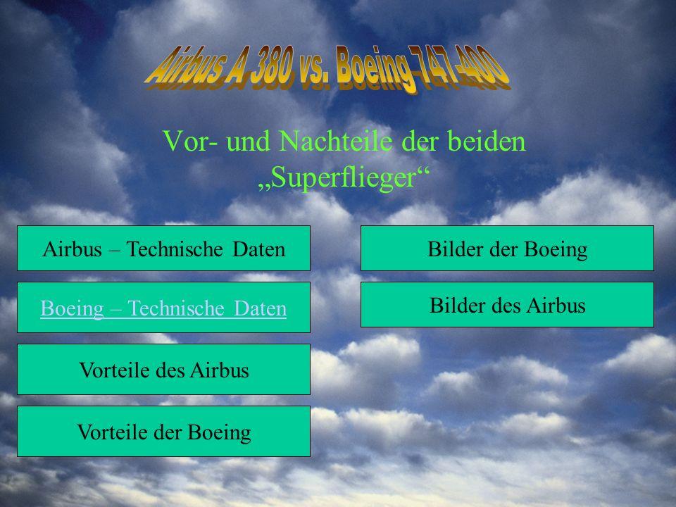"""Vor- und Nachteile der beiden """"Superflieger Airbus – Technische Daten Boeing – Technische Daten Vorteile des Airbus Vorteile der Boeing Bilder der Boeing Bilder des Airbus"""
