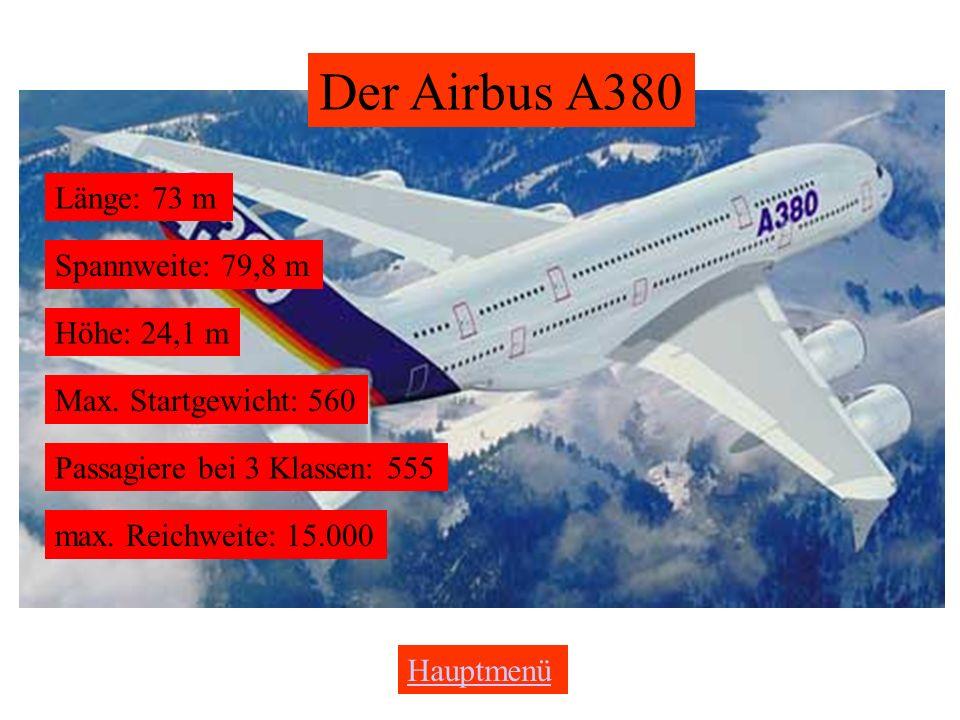 Der Airbus A380 Länge: 73 m Spannweite: 79,8 m Höhe: 24,1 m Max.