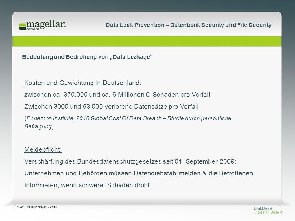 © 2011 | magellan netzwerke GmbH Data Leak Prevention – Datenbank Security und File Security Kosten und Gewichtung in Deutschland: zwischen ca.