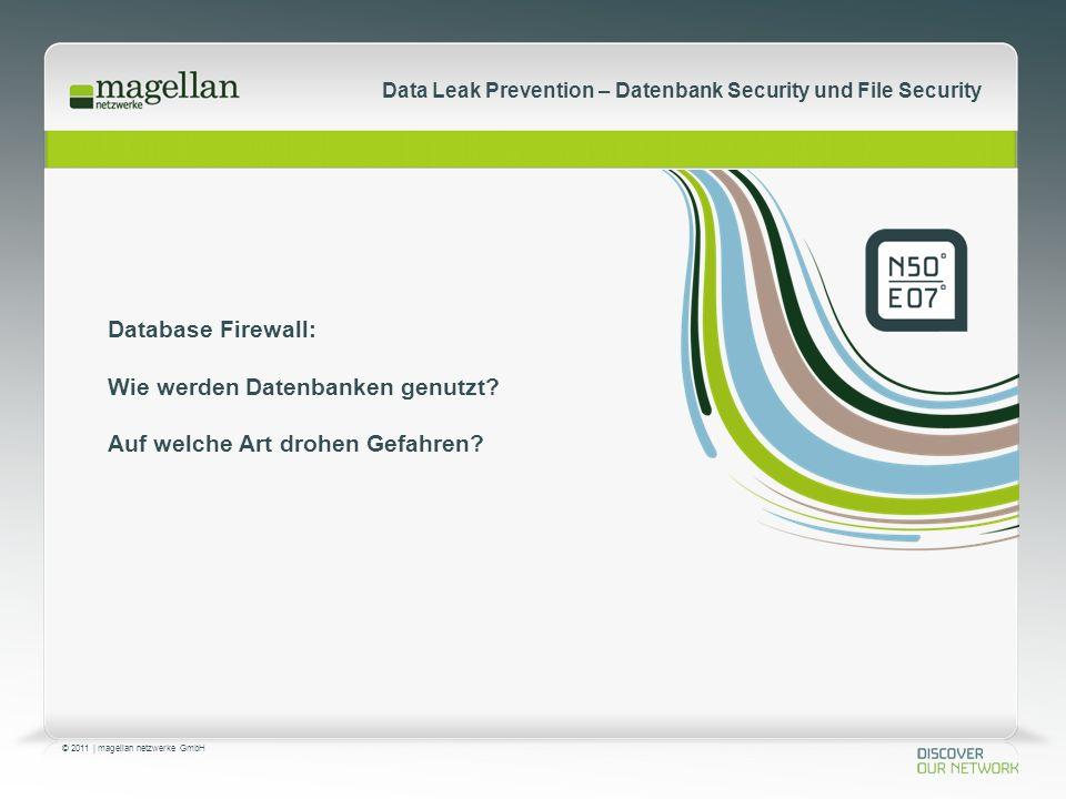© 2011 | magellan netzwerke GmbH Data Leak Prevention – Datenbank Security und File Security Database Firewall: Wie werden Datenbanken genutzt.