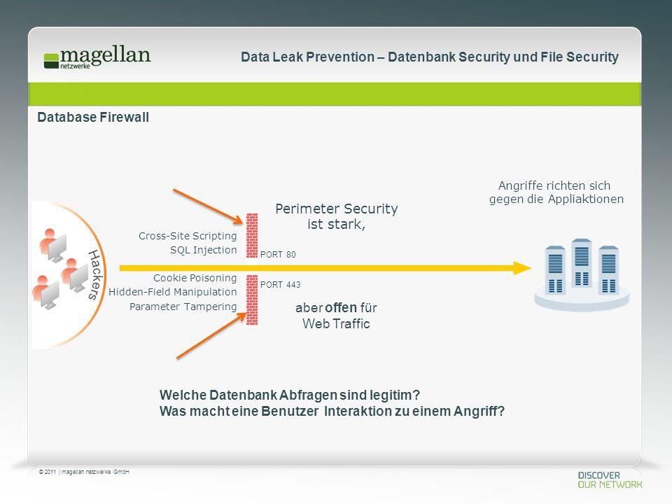 © 2011 | magellan netzwerke GmbH Data Leak Prevention – Datenbank Security und File Security Database Firewall PORT 80 PORT 443 Angriffe richten sich gegen die Appliaktionen Perimeter Security ist stark, aber offen für Web Traffic Welche Datenbank Abfragen sind legitim.