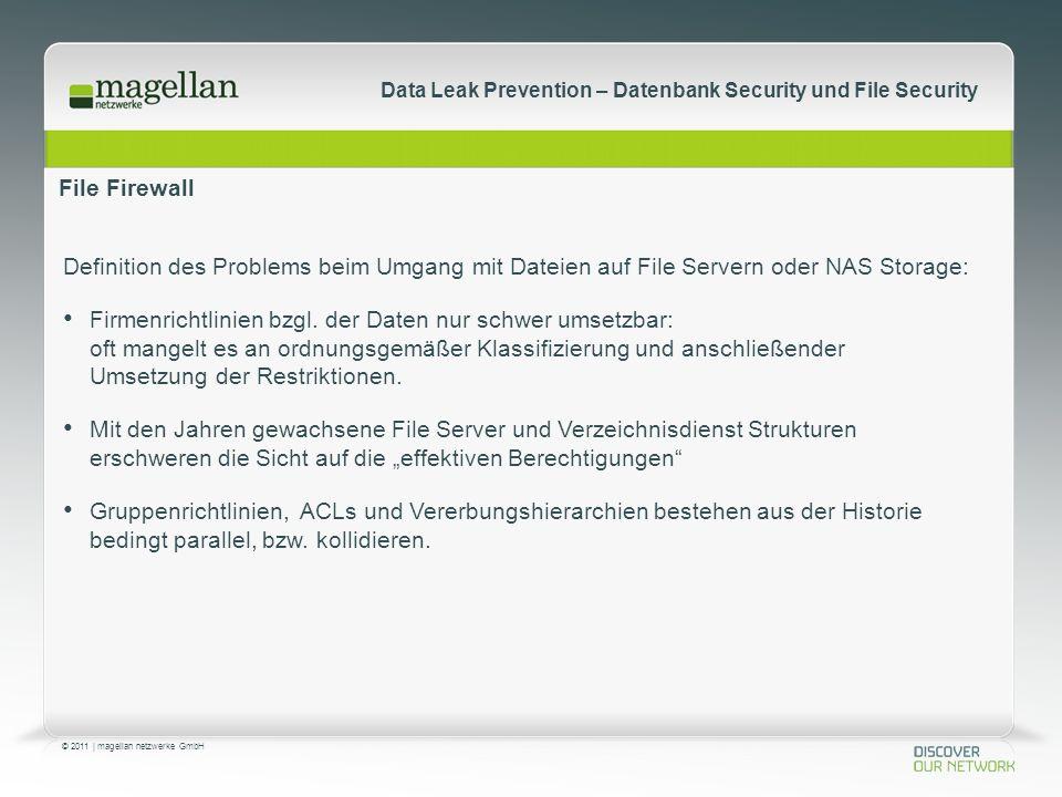 © 2011 | magellan netzwerke GmbH Data Leak Prevention – Datenbank Security und File Security File Firewall Definition des Problems beim Umgang mit Dateien auf File Servern oder NAS Storage: Firmenrichtlinien bzgl.