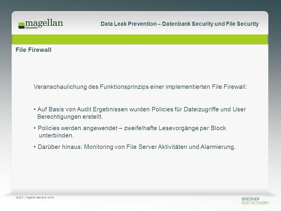 © 2011 | magellan netzwerke GmbH Data Leak Prevention – Datenbank Security und File Security File Firewall Veranschaulichung des Funktionsprinzips einer implementierten File Firewall: Auf Basis von Audit Ergebnissen wurden Policies für Dateizugriffe und User Berechtigungen erstellt.