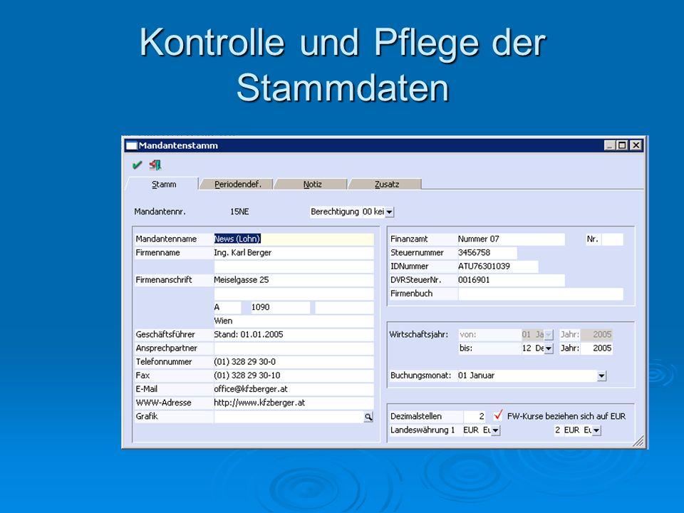 Kontrolle und Pflege der Stammdaten