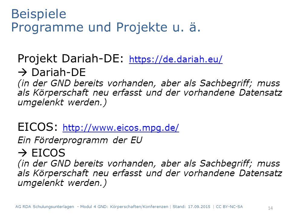 Beispiele Programme und Projekte u. ä. Projekt Dariah-DE: https://de.dariah.eu/ https://de.dariah.eu/  Dariah-DE (in der GND bereits vorhanden, aber