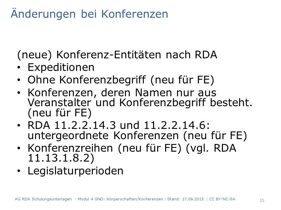(neue) Konferenz-Entitäten nach RDA Expeditionen Ohne Konferenzbegriff (neu für FE) Konferenzen, deren Namen nur aus Veranstalter und Konferenzbegriff