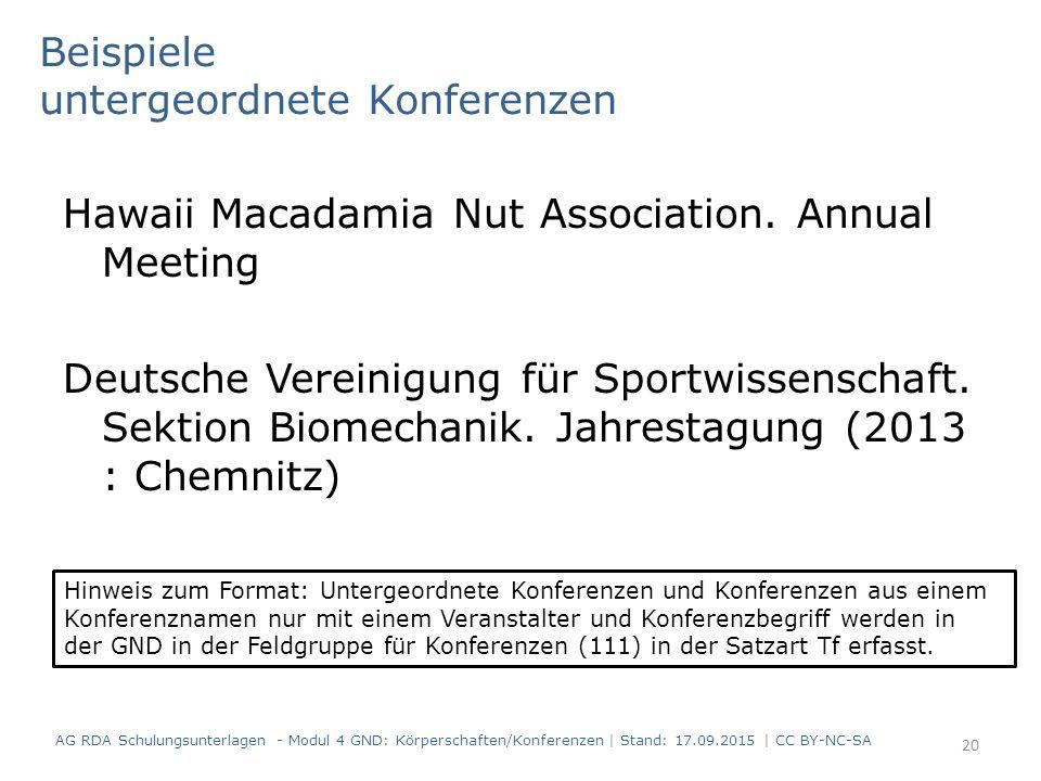 Beispiele untergeordnete Konferenzen Hawaii Macadamia Nut Association. Annual Meeting Deutsche Vereinigung für Sportwissenschaft. Sektion Biomechanik.