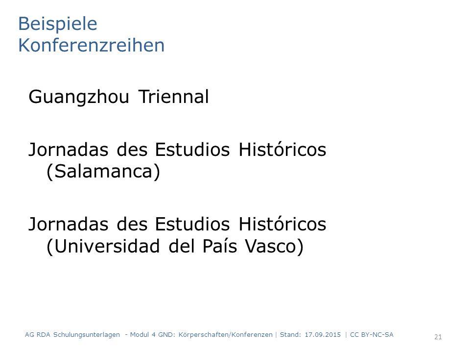 Beispiele Konferenzreihen Guangzhou Triennal Jornadas des Estudios Históricos (Salamanca) Jornadas des Estudios Históricos (Universidad del País Vasco