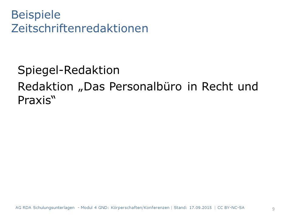 """Spiegel-Redaktion Redaktion """"Das Personalbüro in Recht und Praxis"""" Beispiele Zeitschriftenredaktionen AG RDA Schulungsunterlagen - Modul 4 GND: Körper"""