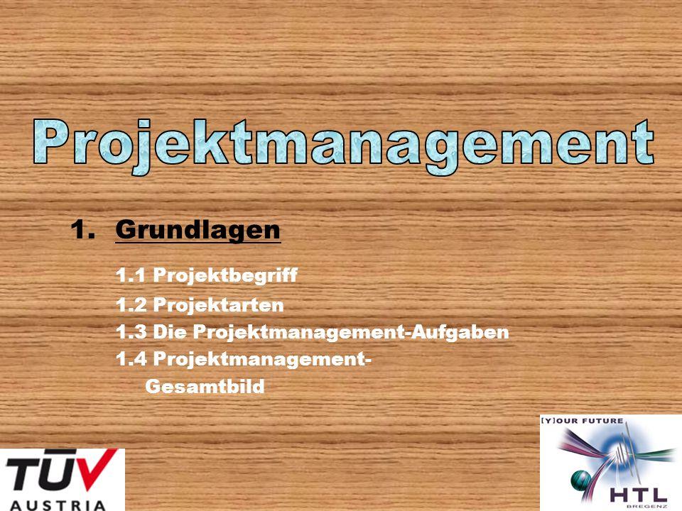 1.Grundlagen 1.1 Projektbegriff 1.2 Projektarten 1.3 Die Projektmanagement-Aufgaben 1.4 Projektmanagement- Gesamtbild